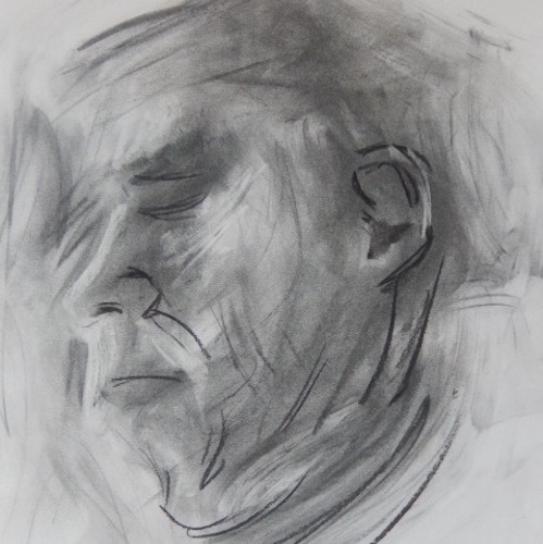 portrait of the artists mother in charcoal